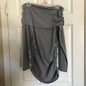 ALLEGRA K OFF SHOULDER GRAY DRESS